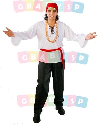 roupa de cigano adulto acompanha camisa, calça, lenço, cinto