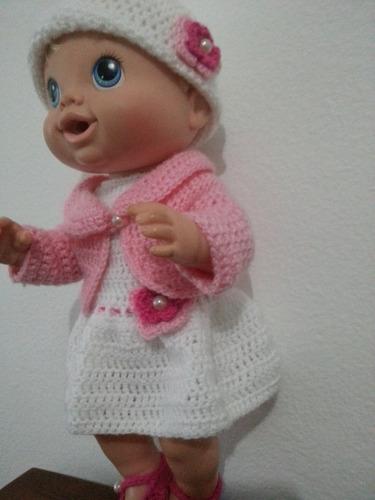 roupa de crochet rosa para boneca baby alive ou semelhante