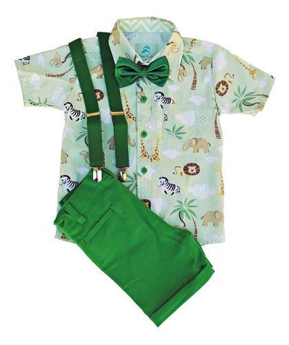 roupa de festa infantil menino safari camisa social manga curta mickey safári bermuda social suspensório gravata