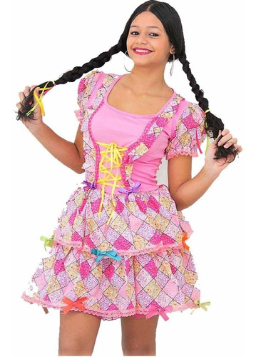 roupa de festa junina vestido infantil caipirinha dani