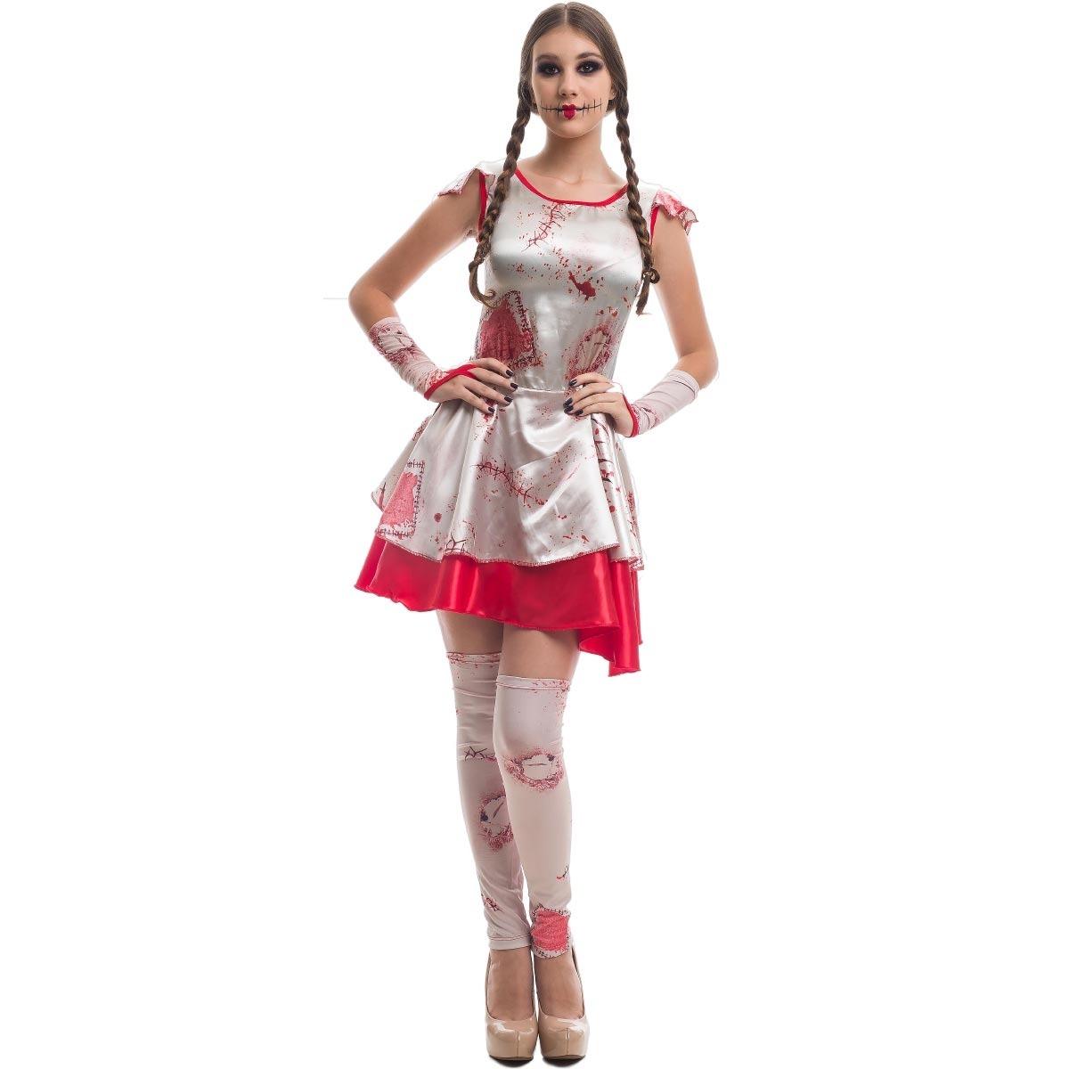 0bb12a21e Roupa De Halloween Adulta Feminina Terror Boneca Do Mal R 17479