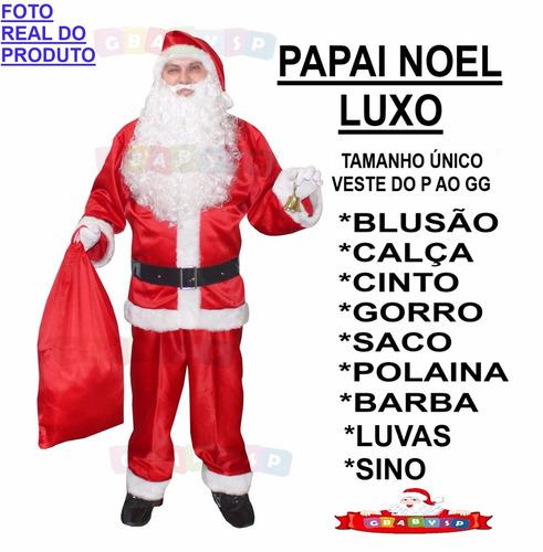 roupa de papai noel /  fantasia luxo + barba + luvas + sino