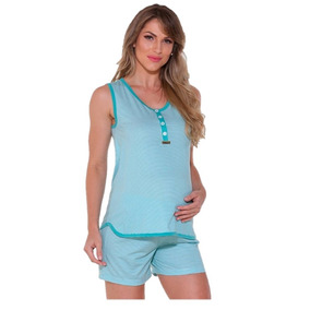 58af55346 Pijama Feminino Senilha - Short Doll Malha Pv - Verde