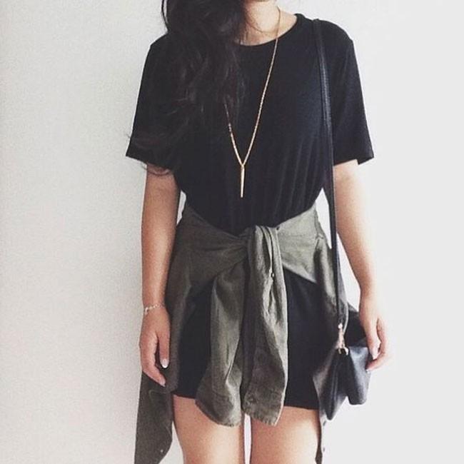 Roupa estilo tumblr vestido camiseta b sico casual dia for T shirt dress outfit tumblr