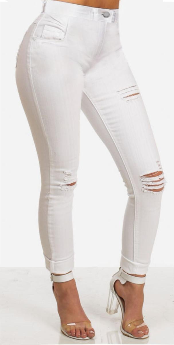 07eea8211 roupa feminina calça jeans rasgada cintura alta branca dins. Carregando zoom .
