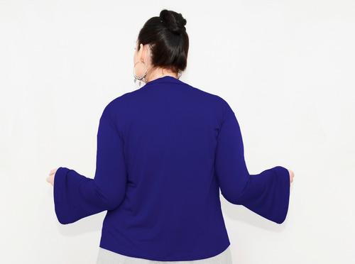 roupa feminina casaco curto manga flare longa plus size