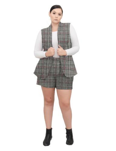 roupa feminina maxi colete casual jaquard xadrez plus size