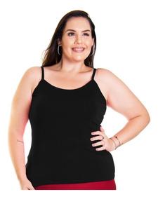 d20a966aff0e9e Roupa Feminina Plus Size Blusa Camisa Regata Básica Alcinha