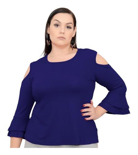 roupa feminina plus size blusa ombro aberto manga 7/8 babado