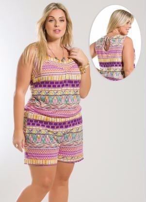 roupa feminina plus size - macaquinho blusa / short algodao