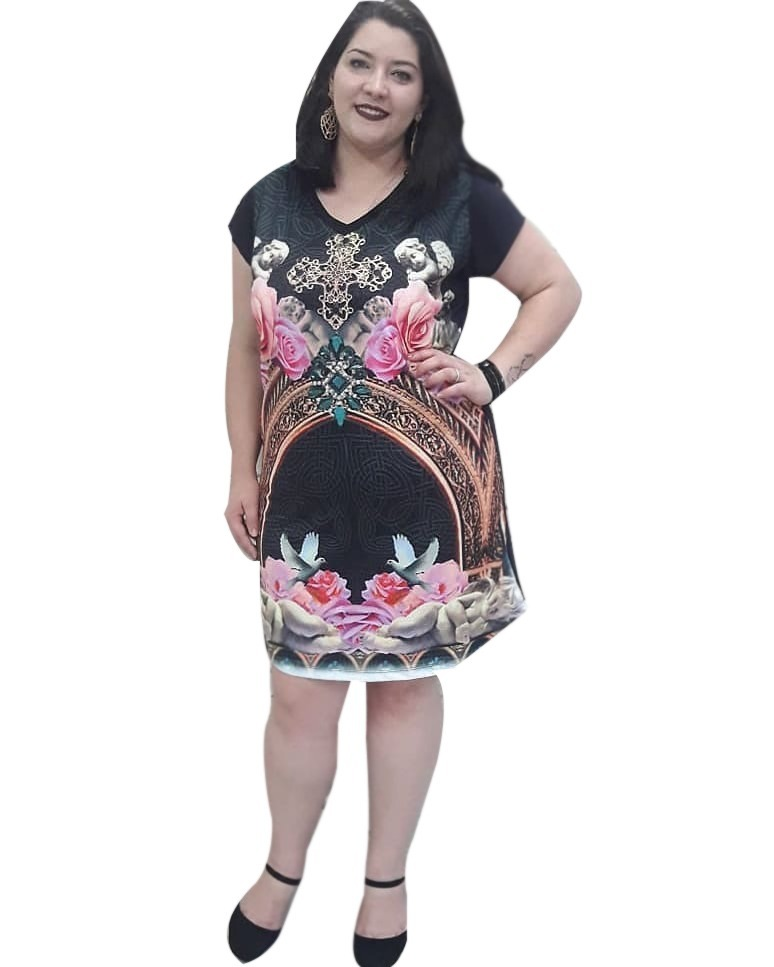 92b3bd414b roupa feminina vestido estampado plus size gordinha oferta. Carregando zoom.