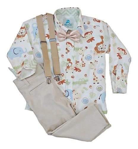 roupa festa aniversário camisa social safári manga longa e calça social com suspensório e gravata blue kids