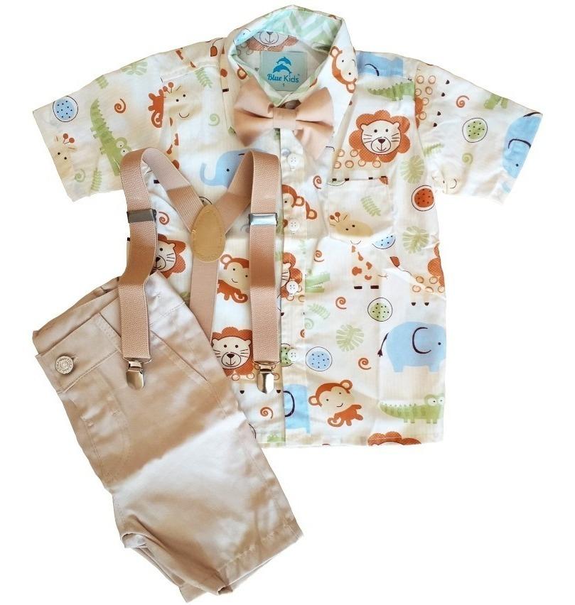 99c8481495ffbb Roupa Festa Camisa Safari Bermuda Suspensorio E Gravata