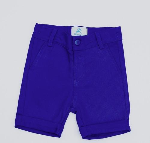 roupa festa infantil com camisa social manga curta menino e bermuda social bolso embutido blue kids collection