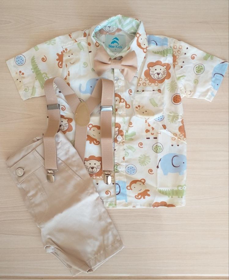 03298bf8db0f74 Roupa Festa Safari Camisa Temática Bebê Menino 1 A 3 Anos