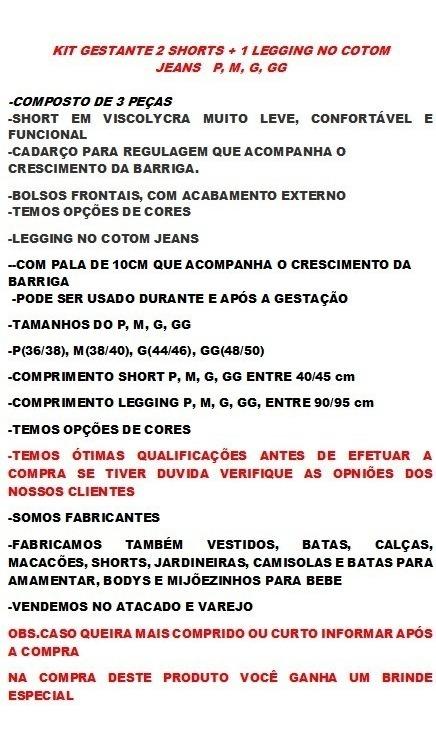 Roupa Gestante Kit 2 Shorts +1legging Gravida + Brinde