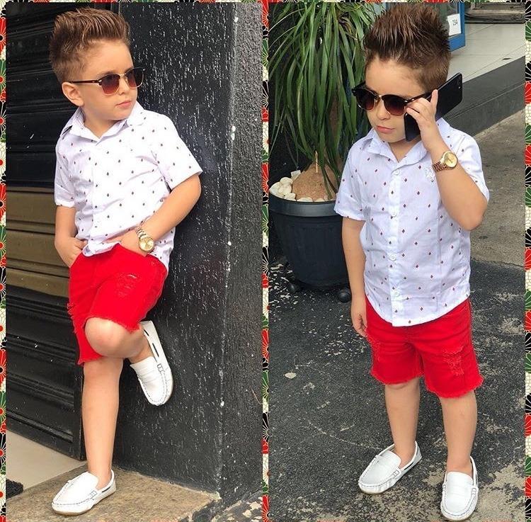 704891015da46 Roupa Infantil Conjunto Camisa Social Curta E Bermuda - R  74