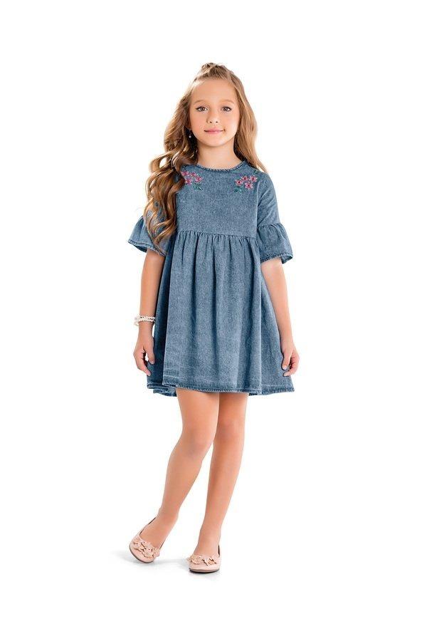 375d5c0fd588f8 Roupa Infantil Menina Vestido Jeans 4, 6, 8, 10 Anos Fakini