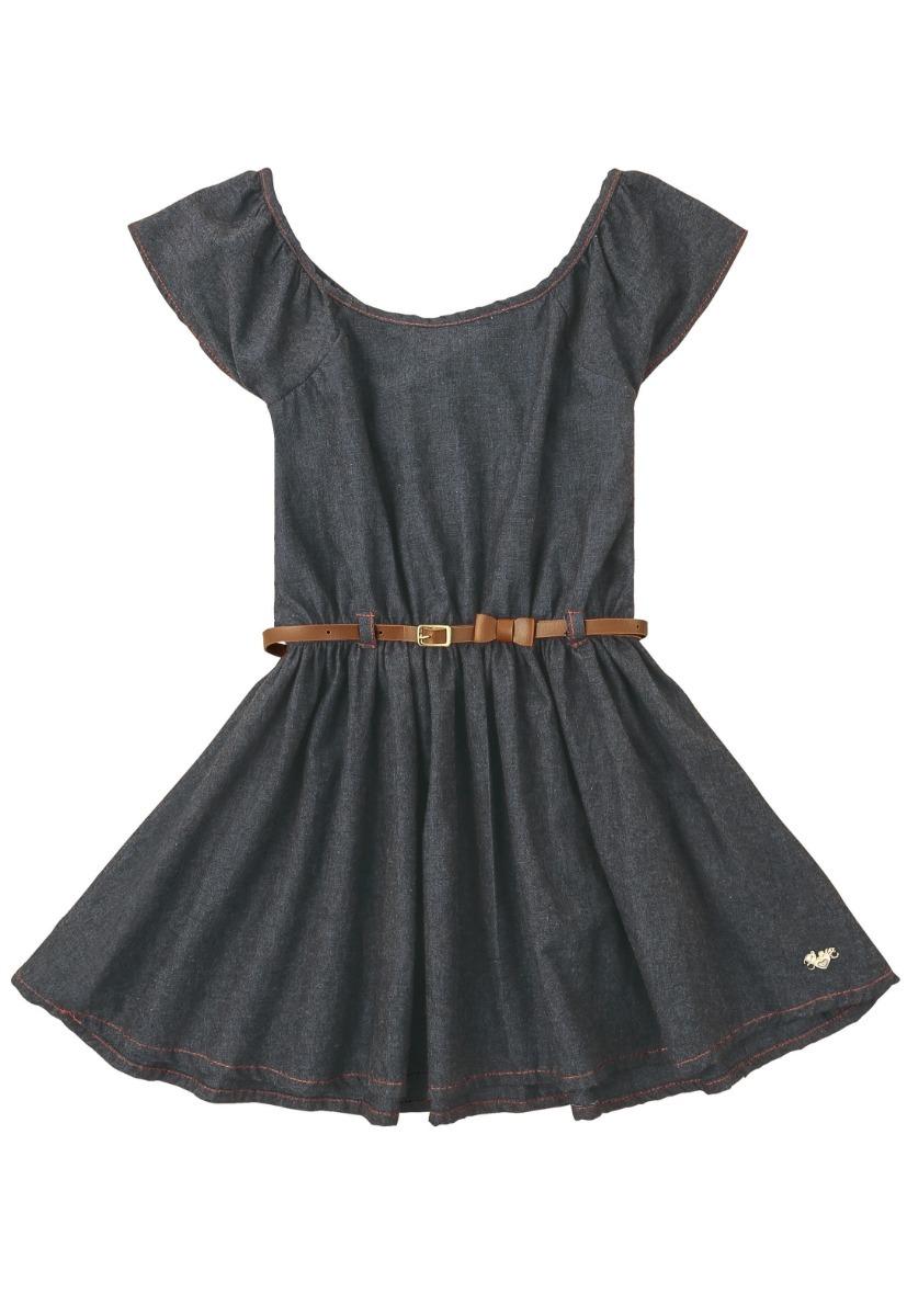 891d4e8c1b1f14 Roupa Infantil Menina Vestido Jeans Escuro 4, 8 E 10 Anos