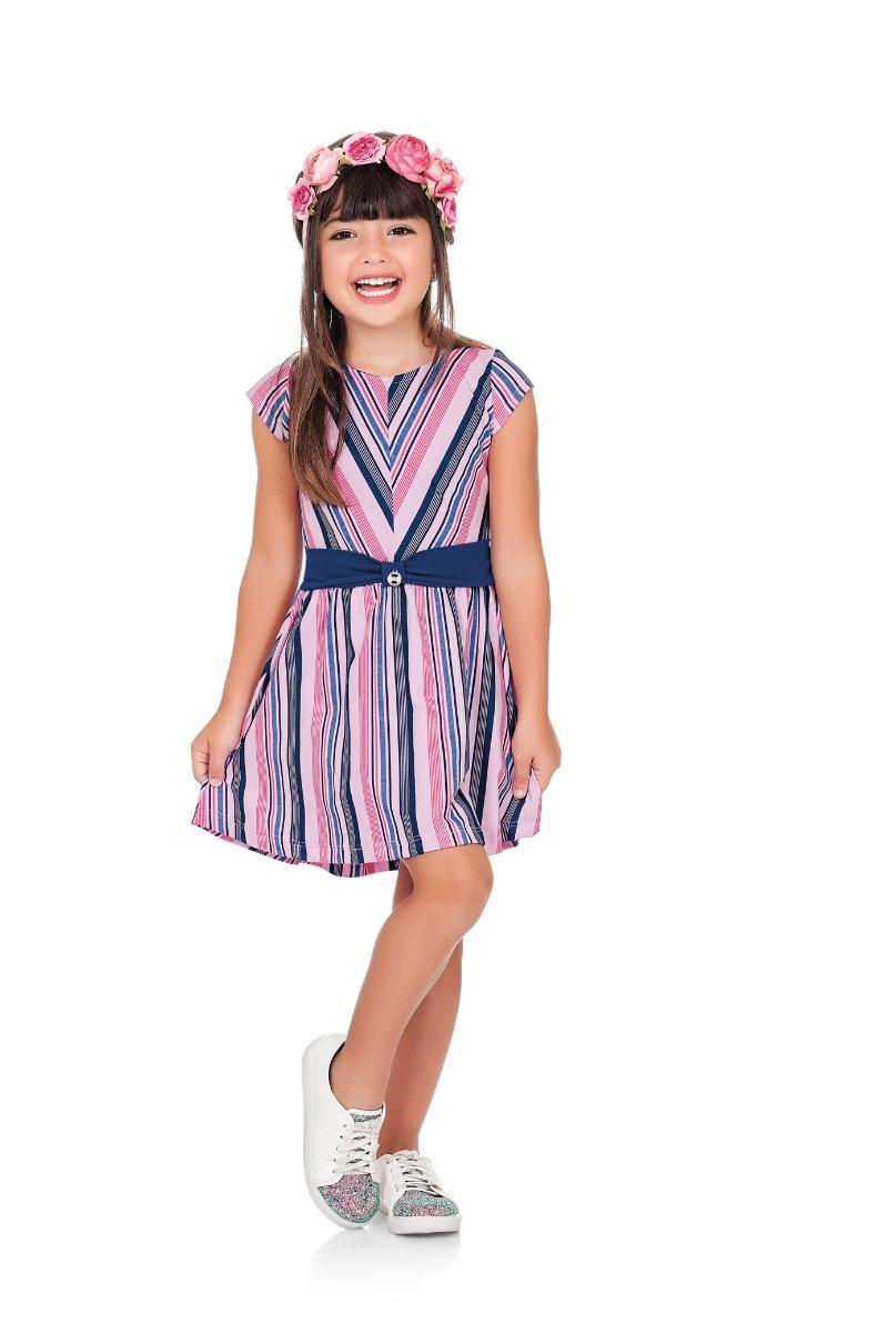 743c48fd052666 Roupa Infantil Menina Vestido Malha Listrado 4 Anos