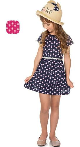 roupa infantil menina vestido meia manga estampado isensee
