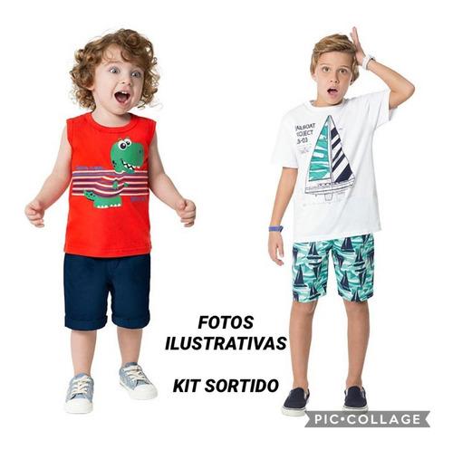 roupa infantil menino 3 conjuntos + 2 camisetas - 12 ao 16
