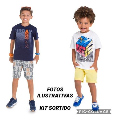 roupa infantil menino 3 conjuntos + 2 camisetas  -  4 ao 10
