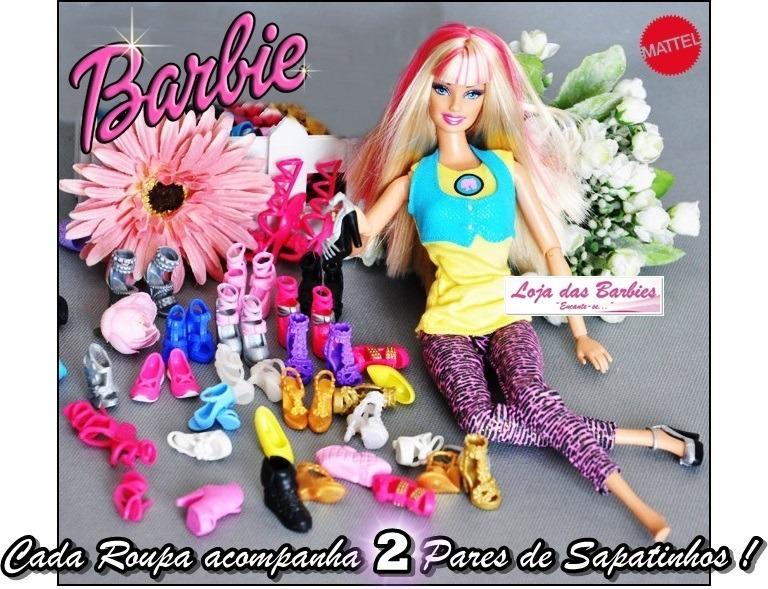 08b57687f88 Roupa Luxo Para Boneca Barbie + Sapato Roupinha Original 20f - R  29 ...