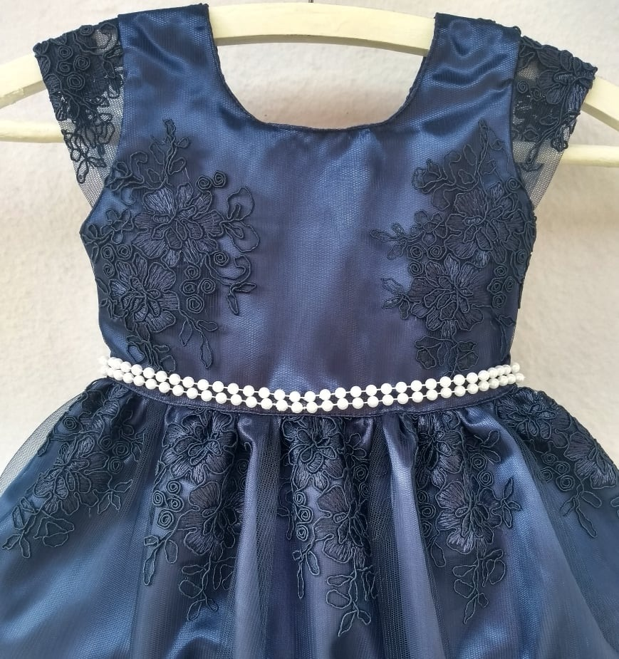 f658cc549 Vestido Infantil Luxo Bordado Azul Roupa Bebe Menina - R$ 99,99 em ...