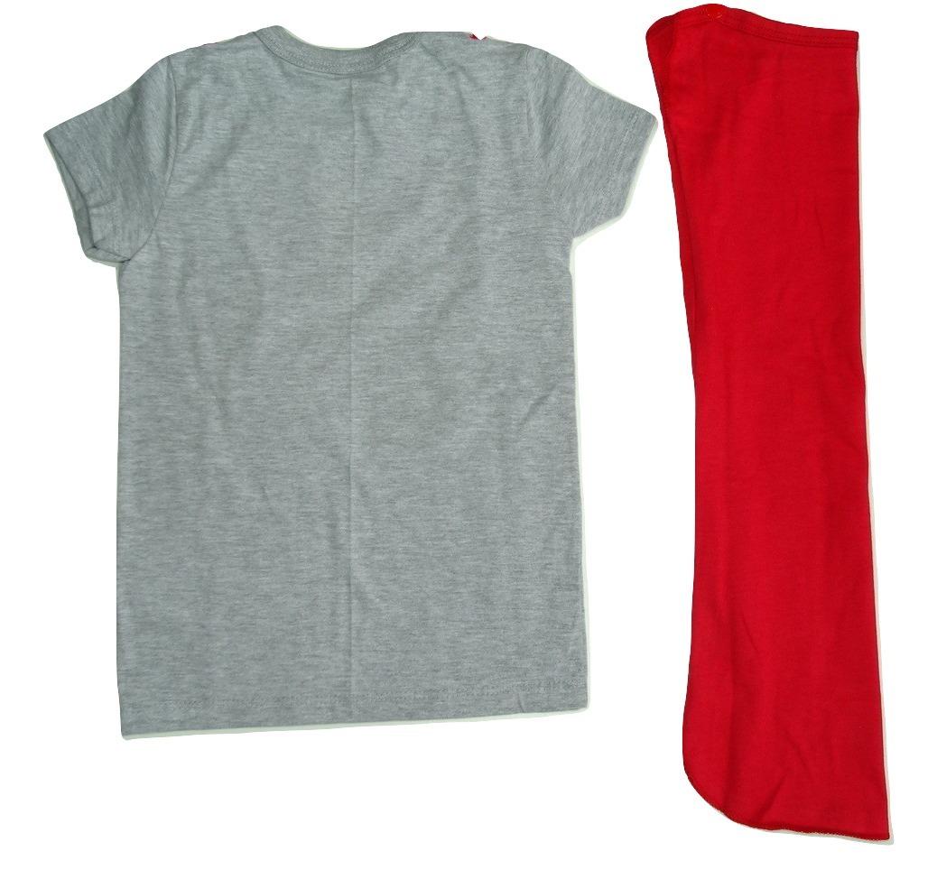b110a9494 Camiseta Super Herói Com Capa Removível Roupa Bebê Menino - R  29