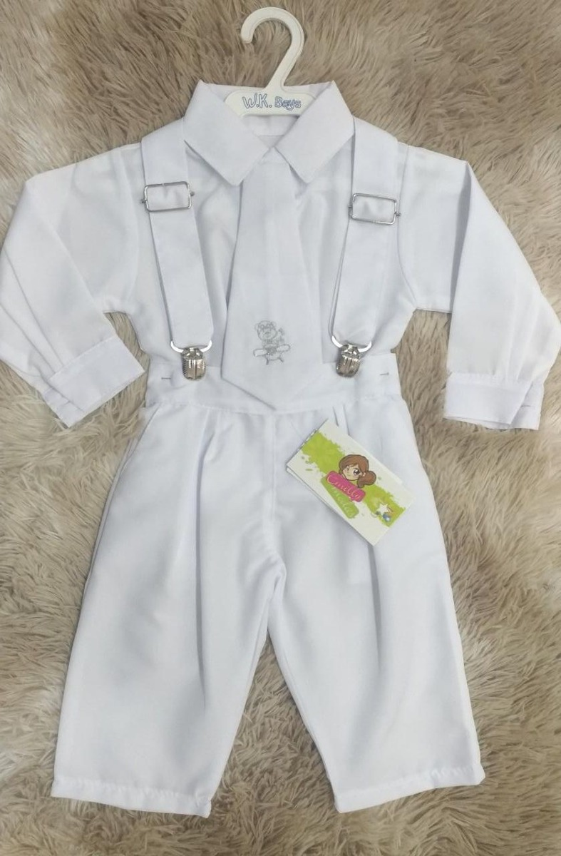 Roupa Branco Batizado Menino Bebe Suspensorio Gravata Camisa - R ... 168d05068d1