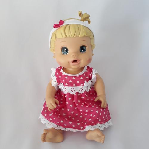 roupa para baby alive 1 vestido + calcinha + tiara