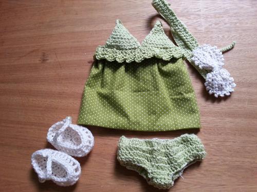roupa para boneca baby alive de crochet verde