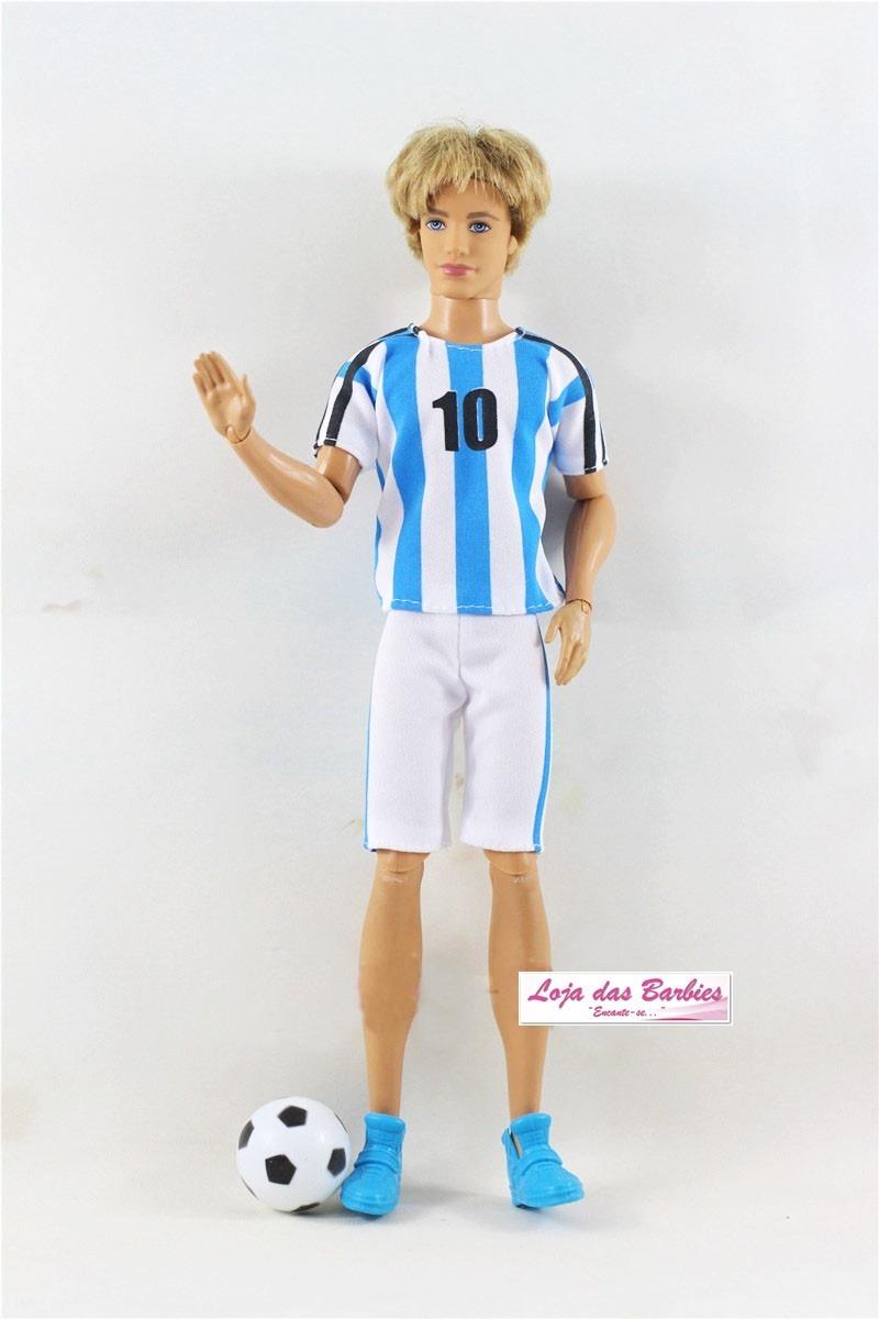 9dc416c2842e0 roupa para boneco ken ( barbie ) jogador futebol + sapato 45. Carregando  zoom.