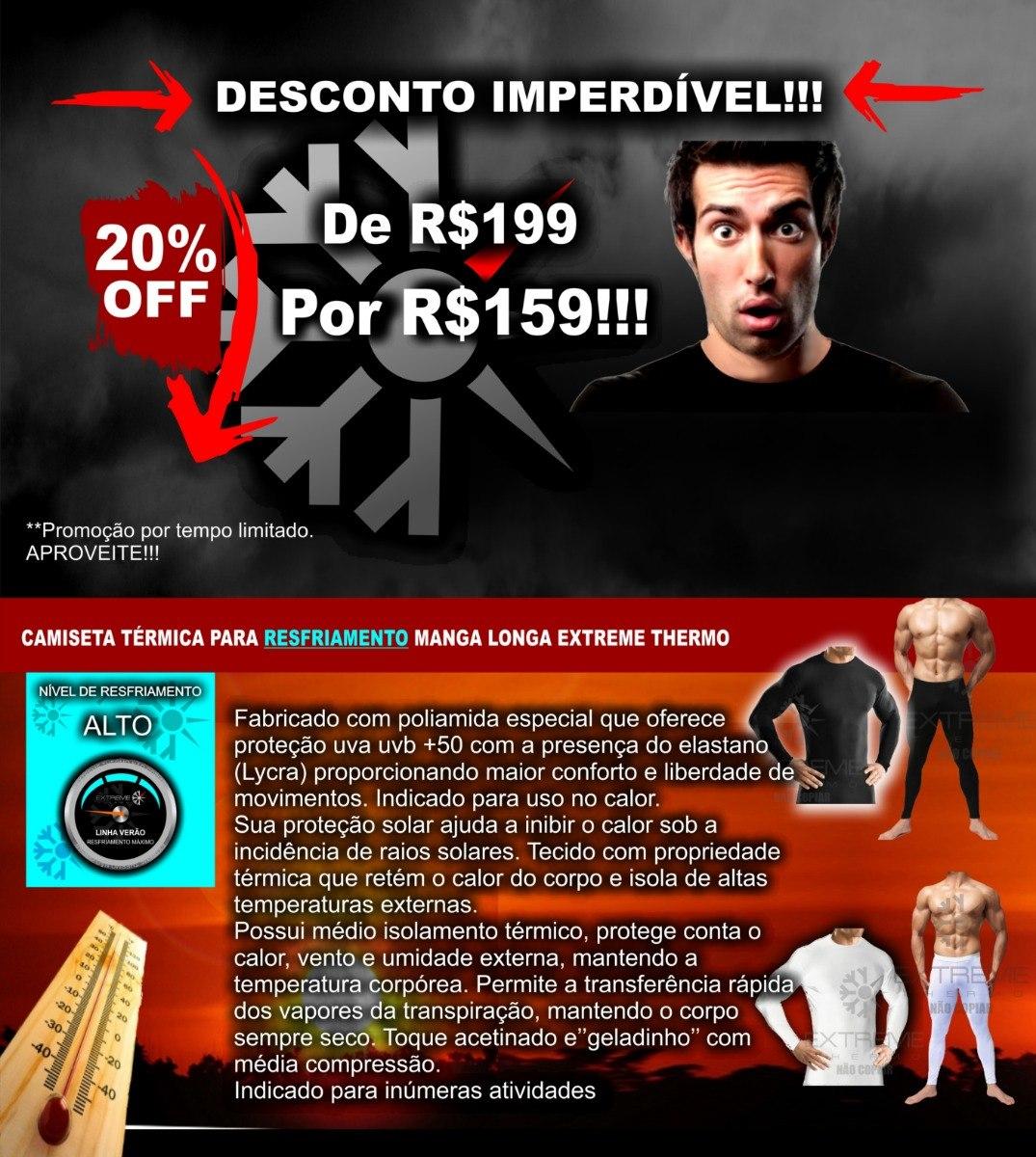 d7004559ac Roupa Térmica Segunda Pele Verão Proteção Uv Calça + Camisa - R  159 ...