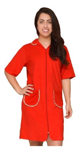 roupao banho feminino ziper manga algodao verão plus size