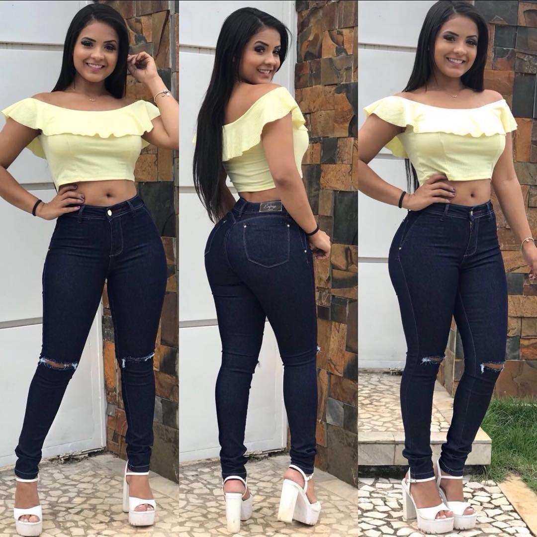 Roupas Femininas Calças Jeans Feminina Rasgada No Joelho - R  70 07ab0a5dc35