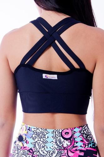 roupas de academia - top trançado bojo fitness, várias cores