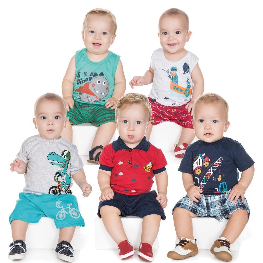 roupas de bebê menino kit 5 conjuntos curto camiseta bermuda. Carregando  zoom. 3559ce77361