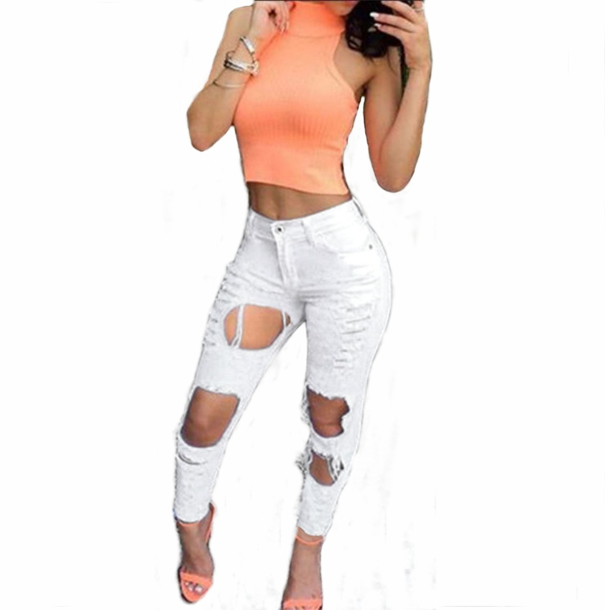 4c890746a Roupas Feminina Calça Jeans Detonada Cintura Alta Dins Lycra - R$ 98 ...