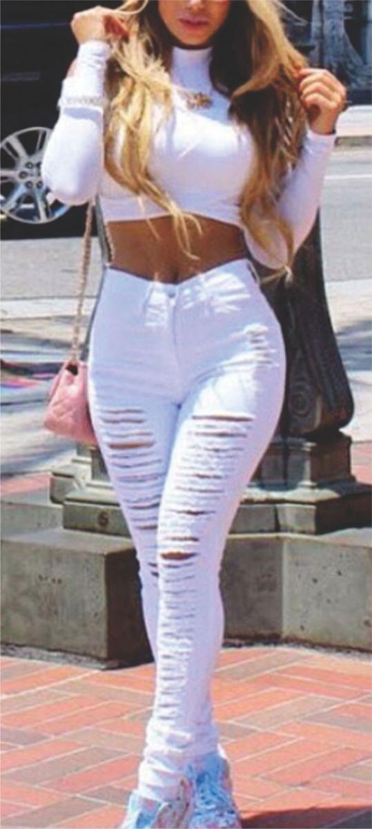 797394ff6 roupas feminina calça jeans rasgada cintura alta dins lycra. Carregando  zoom.