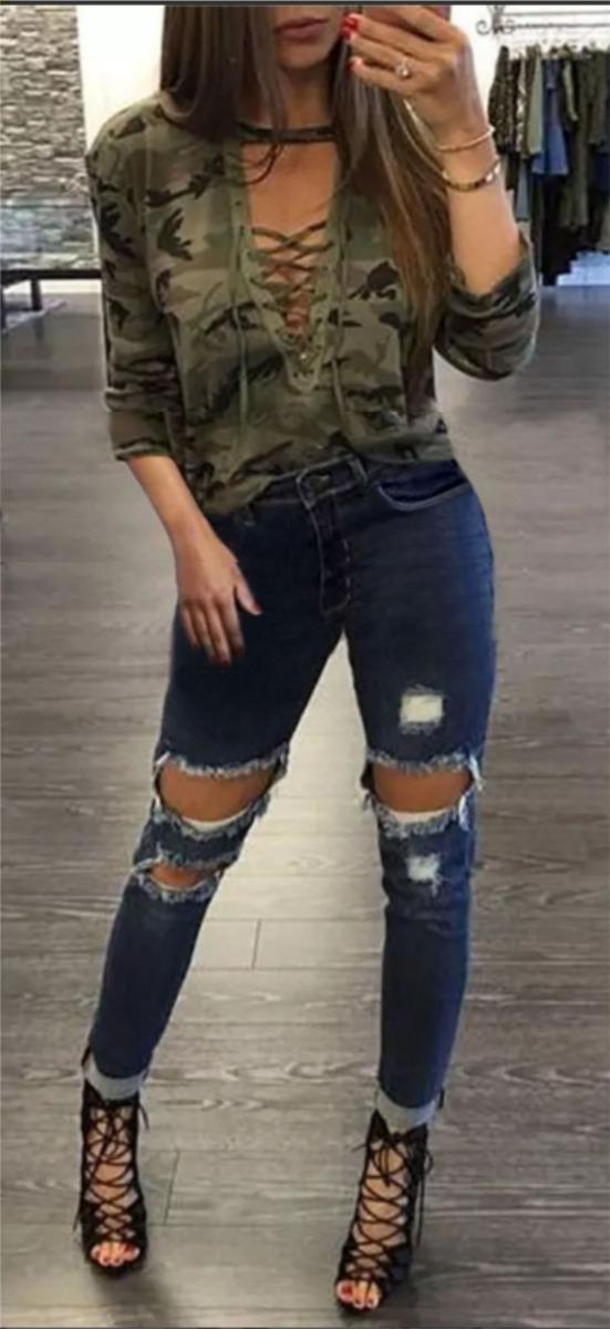 5664db3c9 roupas feminina calça jeans rasgada lycra cintura alta dins. Carregando  zoom.