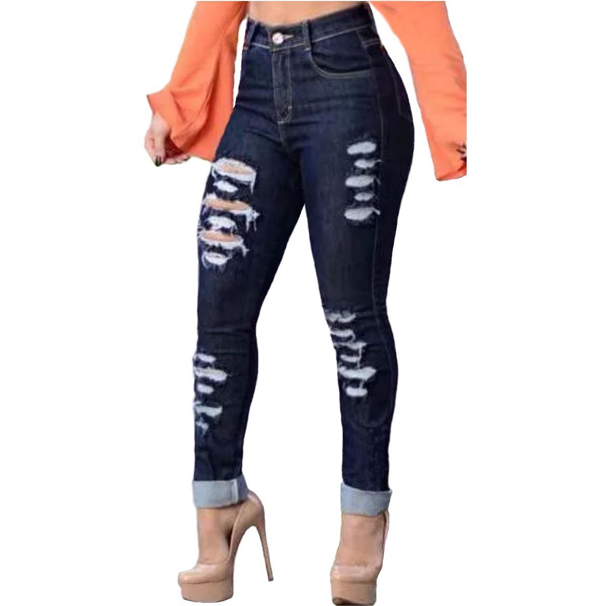232b472f0 roupas feminina calça jeans rasgada strech cintura alta dins. Carregando  zoom.