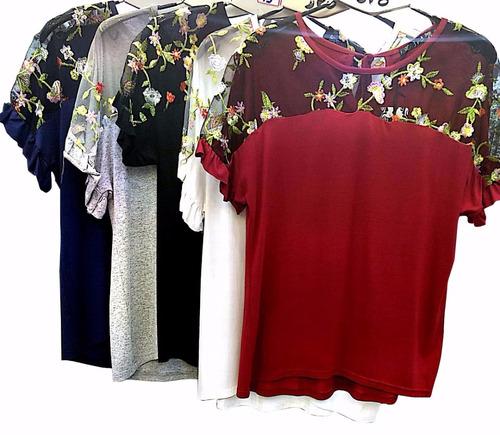 roupas femininas blusa gospel social detalhe nas mangas 2764