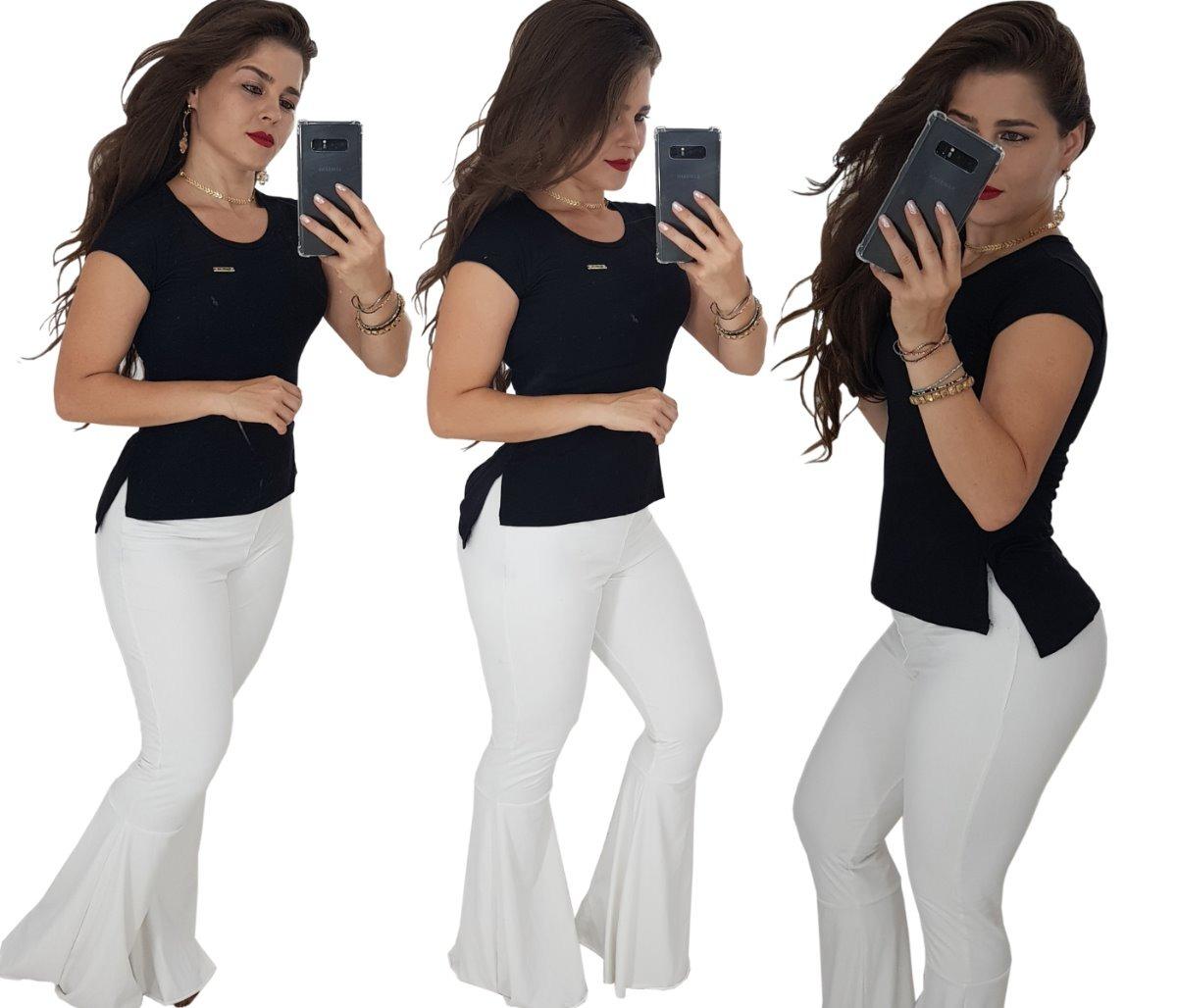 9c103571d Roupas Femininas Blusas Baby Look Camisetas Long Line Lindas - R  26 ...