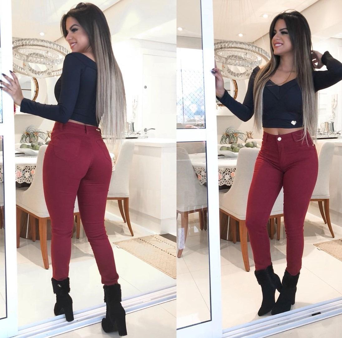 66fdb0f45 roupas femininas calça jeans vinho bordô marsala cós alto!! Carregando zoom.