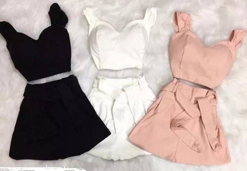 roupas femininas conjunto short e cropped com bojo bemgaline