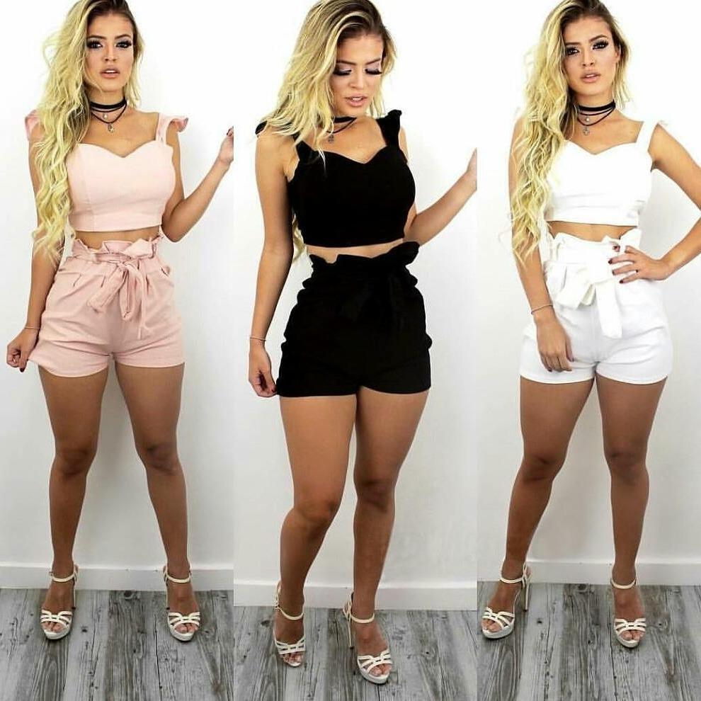 55ac4065c roupas femininas conjunto short e cropped com bojo bengaline. Carregando  zoom.