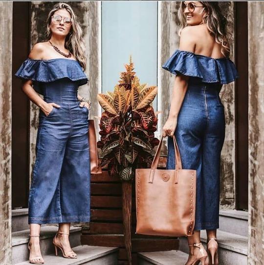 d7acb93b54 Roupas Femininas Macacão Pantacourt Jeans Moda Blogueira - R  246