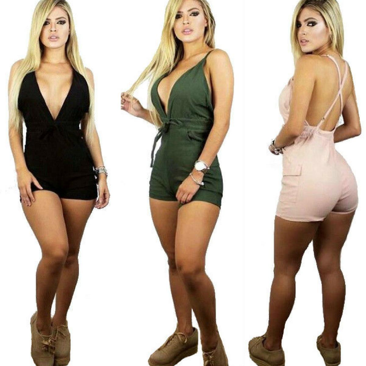 97aa659b4 roupas femininas macaquinho curto decote v com bolso bojo. Carregando zoom.
